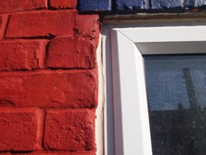 Large gap between window frame and masonry is too wide for the choice of sealant here.