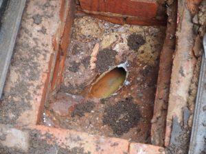 Crudely installed drainage