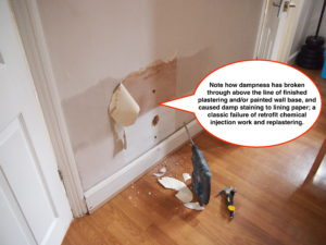 More induced rising damp caused by damp proofers.