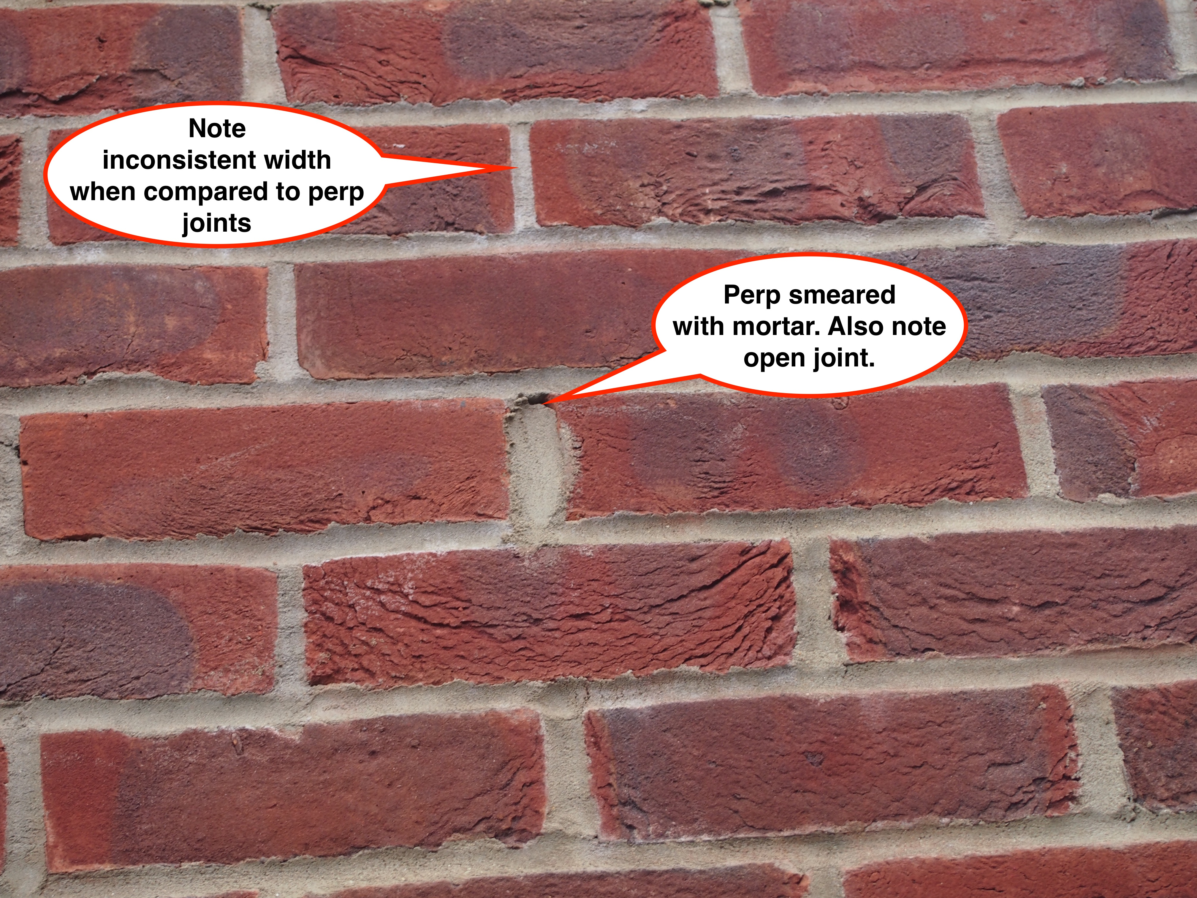 Inconsistent mortar joints