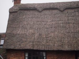 Exposed horizontal sways & spars due to loss of thatch material