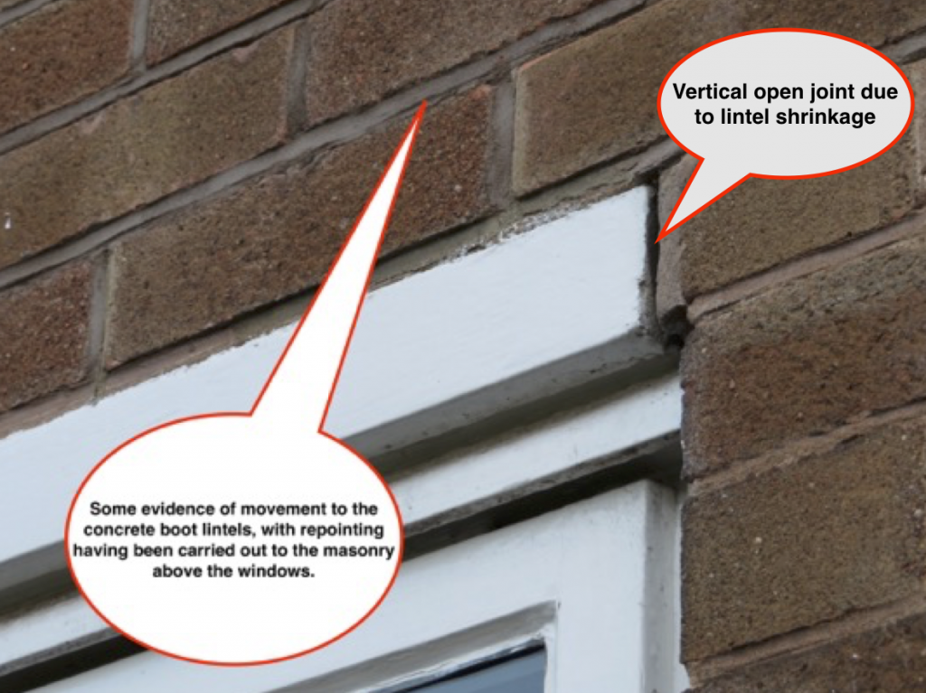 Typical appearance of concrete boot lintel on external face of masonry